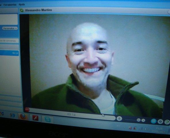 Alessandro, via skype, na hora da entrevista.